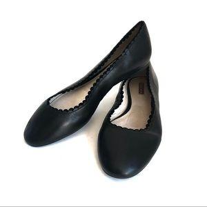 Louise et Cie black leather scalloped ballet flats